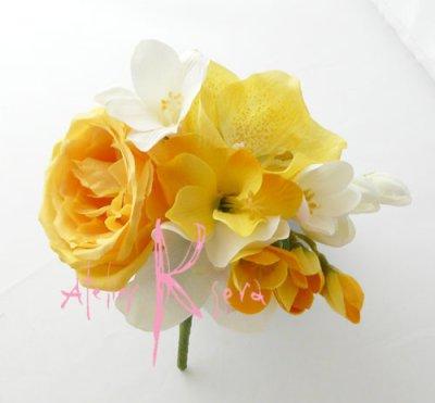 画像4: 造花オーダーメイドブーケ  クラッチ・ブトニア・ボリューム花冠(YWフリージア&ラン)