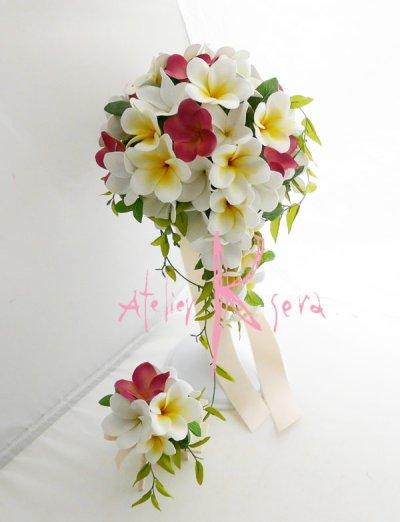 画像1: 造花オーダーメイドブーケ  キャスケード・ブトニア(プルメリア3カラーPCW)