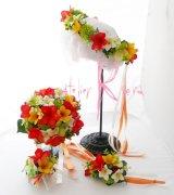 造花オーダーメイドブーケ  ラウンド20・ブトニア・花冠・リストレット(プルメリアmix&ラン)