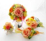 造花オーダーメイドブーケ  ラウンド20・ブトニア・リストレット・ヘッドパーツ(RGイエロー&オレンジ)