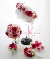 造花オーダーメイドブーケセット  ラウンド20・ブトニア・ヘッドパーツ&リストレット・花冠(ピンクガーベラ)