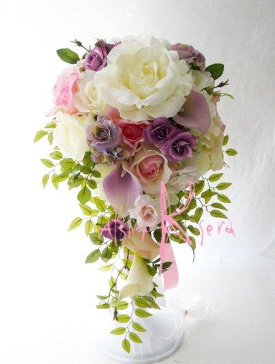 画像1: 造花オーダーメイドブーケ キャスケードセット (カサブランカ・ローズ)