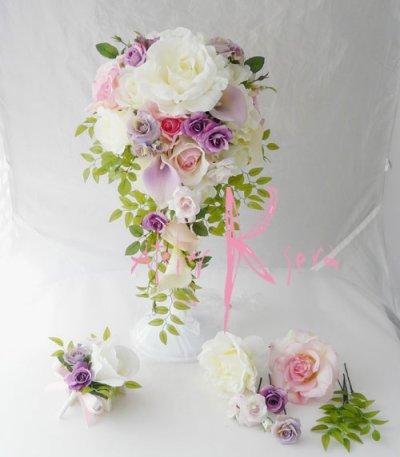 画像5: 造花オーダーメイドブーケ キャスケードセット (カサブランカ・ローズ)