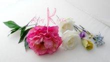 他の写真2: 造花オーダーメイドブーケ  クラッチ・ブトニア・花冠・ヘッドパーツ(ピンクピオニー&スイートピー)