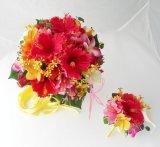 造花オーダーメイドブーケ  ラウンド(3パーツシェア)・ブトニア・ヘッドパーツ(トロピカルミックス)