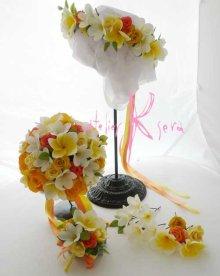 他の写真3: 造花オーダーメイドブーケ ラウンド20・ブトニア・花冠(プルメリアYW&ローズイエロー)