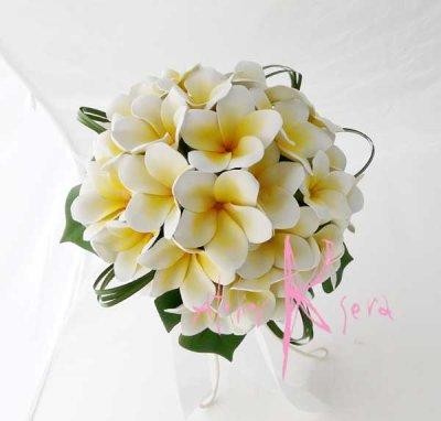 画像2: 造花オーダーメイドブーケ クラッチ・ブトニア・ヘッドパーツ・花冠(プルメリア&ミニプルメリア)