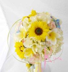 他の写真1: 造花オーダーメイドブーケ Sキャスケード・ブトニア・花冠・リストレット(ヒマワリ&プルメリア&トルコギキョウ)
