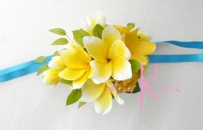 画像3: 造花オーダーメイドブーケ  クラッチ20・ブトニア・花冠・リストレット(プルメリアイエローグラデーションー)