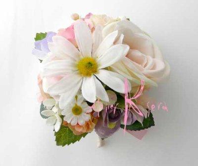 画像2: 造花オーダーメイドブーケ  ラウンド20・ブトニア・花冠(イングリッシュローズ・ミックス)