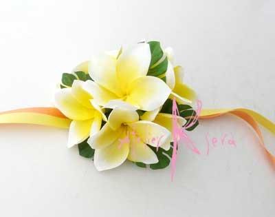画像3: 造花オーダーメイドブーケ キャスケード・ブトニア・リストレット・ヘッドパーツ(アンスリウム&Yプルメリア)