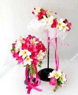 オーダーメイド クラッチブーケ・ブトニア・花冠セット(ピンク&ホワイト プルメリア)