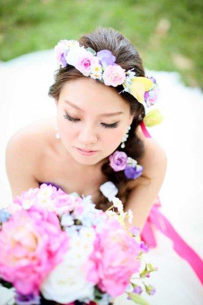 画像1: 造花オーダーメイドブーケ  クラッチ・ブトニア・花冠・ヘッドパーツ(ピンクピオニー&スイートピー)