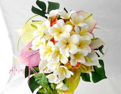 画像5: 造花オーダーメイドブーケ キャスケード・ブトニア・ヘッドパーツ(アンスリウム&プルメリア)