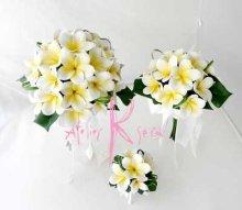 他の写真1: 造花オーダーメイドブーケ クラッチ・ブトニア・ヘッドパーツ・花冠(プルメリア&ミニプルメリア)