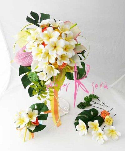 画像1: 造花オーダーメイドブーケ キャスケード・ブトニア・ヘッドパーツ(アンスリウム&プルメリア)