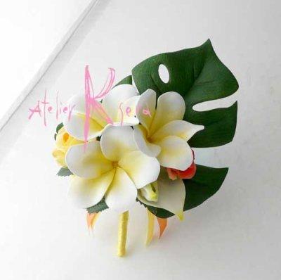 画像3: 造花オーダーメイドブーケ キャスケード・ブトニア・ヘッドパーツ(アンスリウム&プルメリア)