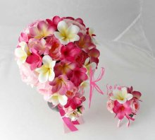 他の写真3: 造花オーダーメイドブーケ ラウンド20・ブトニア・花冠・リストレット・(イングリッシュローズ&ピンクプルメリア)