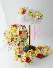 他の写真3: 造花オーダーメイドブーケ キャスケード・ブトニア・花冠・リストレット(Mixプルメリア)