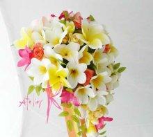 他の写真1: 造花オーダーメイドブーケ キャスケード・ブトニア・花冠・リストレット(Mixプルメリア)