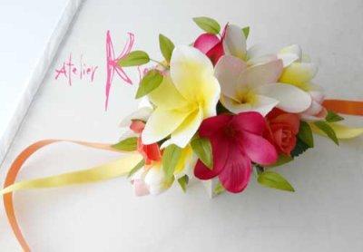 画像5: 造花オーダーメイドブーケ キャスケード・ブトニア・花冠・リストレット(Mixプルメリア)