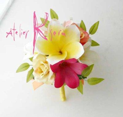 画像4: 造花オーダーメイドブーケ キャスケード・ブトニア・花冠・リストレット(Mixプルメリア)