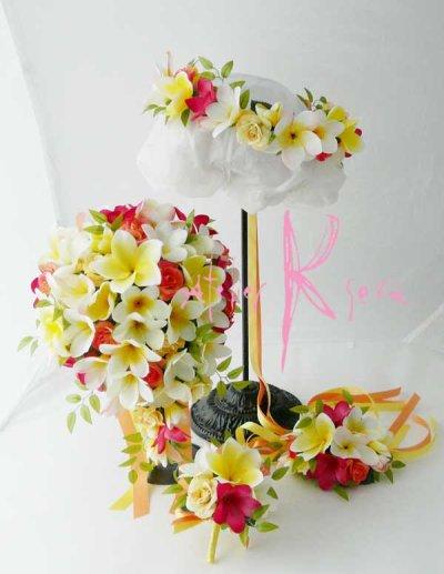 画像1: 造花オーダーメイドブーケ キャスケード・ブトニア・花冠・リストレット(Mixプルメリア)