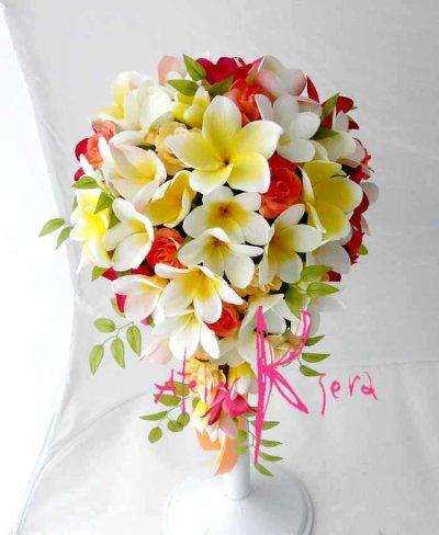 画像2: 造花オーダーメイドブーケ キャスケード・ブトニア・花冠・リストレット(Mixプルメリア)