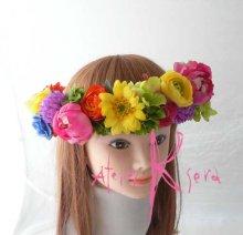 他の写真2: 造花オーダーメイドブーケ シェア4P・ブトニア・花冠・リストレット(カラフルミックス)