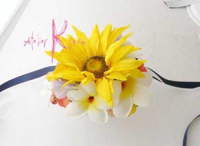 画像3: 造花オーダーメイドブーケ Sキャケード・ブトニア・ボリューム花冠・リストレット(ヒマワリ&プルメリア)