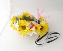 他の写真3: 造花オーダーメイドブーケ Sキャケード・ブトニア・ボリューム花冠・リストレット(ヒマワリ&プルメリア)