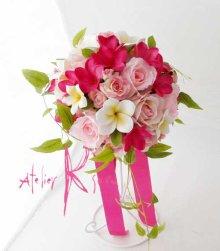 他の写真3: 造花オーダーメイドブーケ ラウンド・ブトニア・ヘッドパーツ(pwプルメリア・ロー+リキュウソウ)
