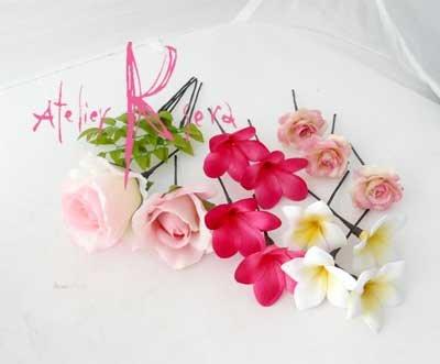 画像4: 造花オーダーメイドブーケ ラウンド・ブトニア・ヘッドパーツ(pwプルメリア・ロー+リキュウソウ)