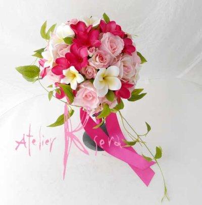 画像3: 造花オーダーメイドブーケ ラウンド・ブトニア・ヘッドパーツ(pwプルメリア・ロー+リキュウソウ)