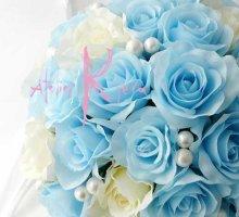 他の写真3: 造花オーダーメイドブーケ クラッチ・ブトニア・花冠(ライトブルー&ホワイトローズ)