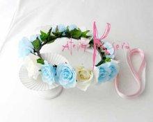 他の写真2: 造花オーダーメイドブーケ クラッチ・ブトニア・花冠(ライトブルー&ホワイトローズ)