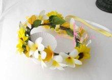 他の写真1: 造花オーダーメイド 花冠・リストレット・ブトニアセット(ひまわり&プルメリア)