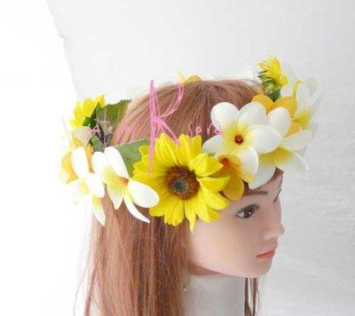 画像2: 造花オーダーメイド 花冠・リストレット・ブトニアセット(ひまわり&プルメリア)