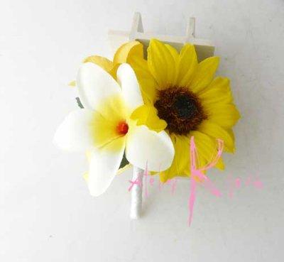 画像3: 造花オーダーメイド 花冠・リストレット・ブトニアセット(ひまわり&プルメリア)