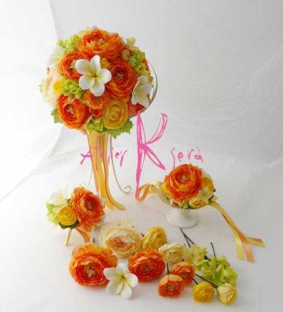 画像2: 造花オーダーメイドブーケ クラッチ22・ブトニアヘッドパーツ・リストレット・花冠(ラナンキュラスMIX&プルメリア)