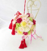 造花オーダーメイドブーケ 和装用ボールブーケ(ピンポンマム&ピンク)