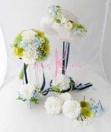 造花オーダーメイドブーケ クラッチ22・ブトニア・リストレット・花冠(Wダリア&クリスマスローズ)