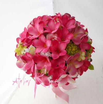 画像2: 造花オーダーメイドブーケ クラッチ25・ブトニア・花冠(P&Pプルメリア)
