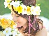 造花オーダーメイドブーケ ラウンド20・ブトニア・花冠(プルメリア&ローズイエロー)
