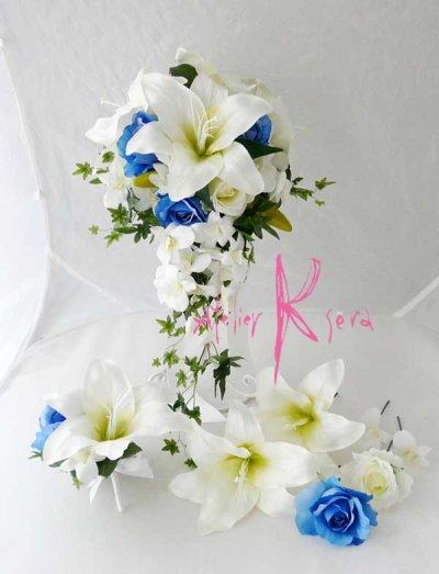 画像1: 造花オーダーメイドブーケ キャスケード・ブトニア・ヘッドパーツ(カサブランカ&ロイヤルブルーローズ)