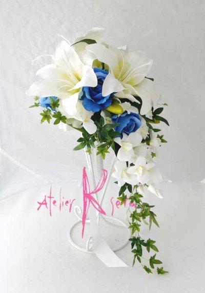 画像3: 造花オーダーメイドブーケ キャスケード・ブトニア・ヘッドパーツ(カサブランカ&ロイヤルブルーローズ)