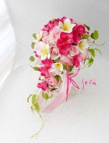他の写真3: 造花オーダーメイドブーケ  Sキャスケード・ブトニア・花冠・(プルメリア&ローズ&リキュウソウ)