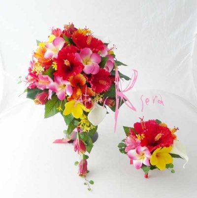 画像1: 造花オーダーメイド  3Pシェアブーケ・ブトニア(ハイビスカス&プルメリアミックス)