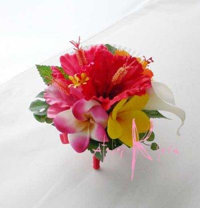 画像3: 造花オーダーメイド  3Pシェアブーケ・ブトニア(ハイビスカス&プルメリアミックス)