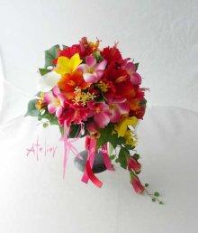 他の写真2: 造花オーダーメイド  3Pシェアブーケ・ブトニア(ハイビスカス&プルメリアミックス)